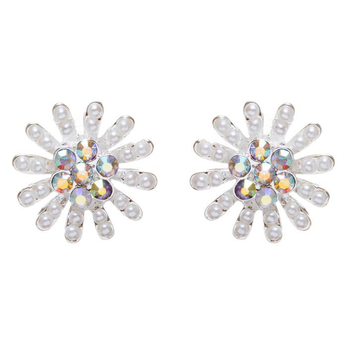Bridal Wedding Jewelry Prom Rhinestone Simple Sunburst Charm Earrings E962 SV