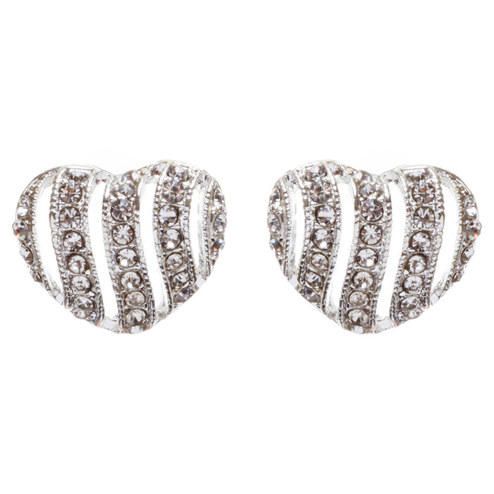 Valentines Jewelry Bridal Wedding Crystal Rhinestone Heart Earrings E964 Silver