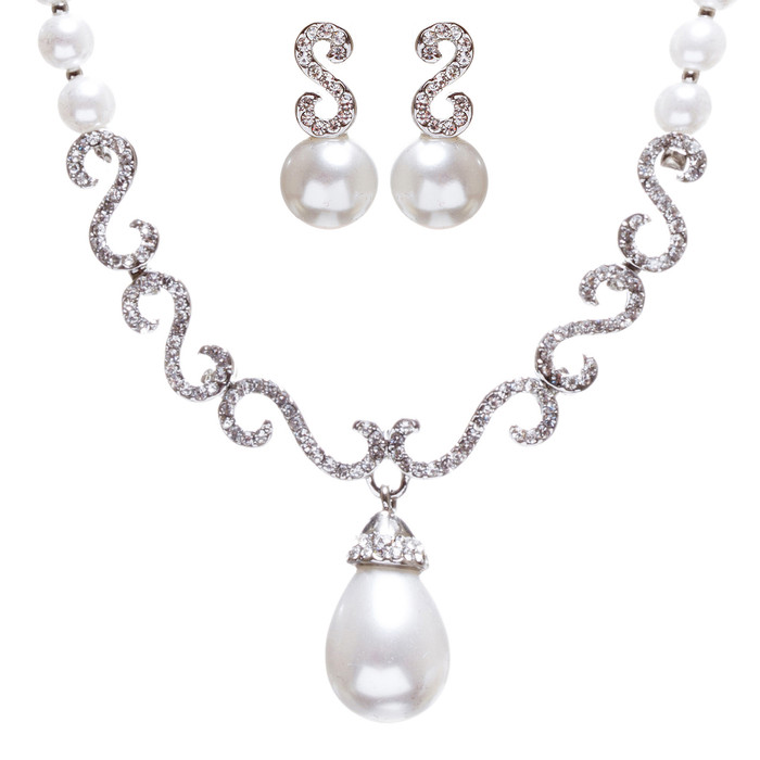 Bridal Wedding Jewelry Crystal Rhinestone Pearl Swirl Links Necklace Set J648 SV