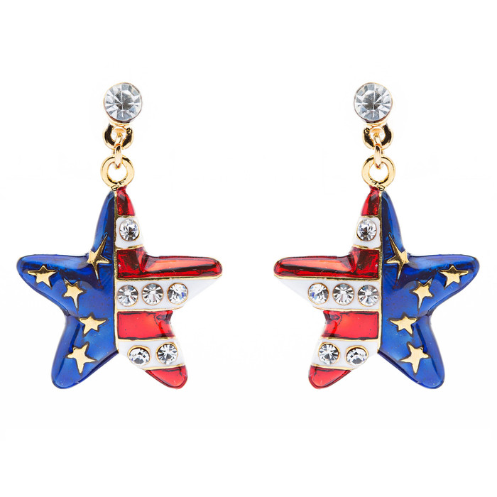 Patriotic American Flag 3D Star Charm Earrings Gold
