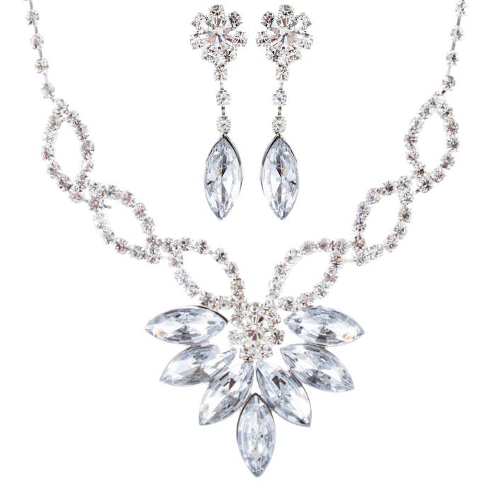 Bridal Wedding Jewelry Prom Rhinestone Beautiful Glamorous Necklace Set J672 SV