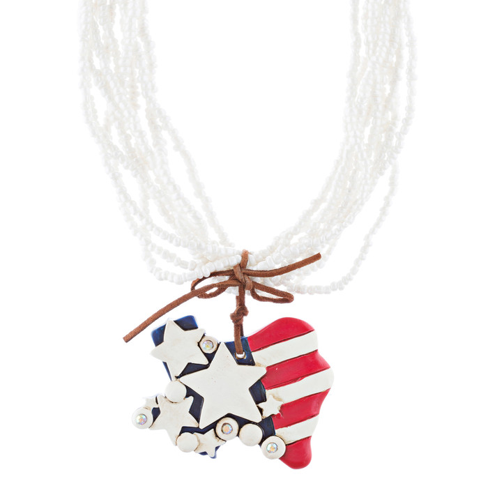 Patriotic Jewelry Multi Strands Crystal Rhinestone Heart Star Necklace JN267 WT