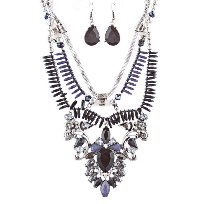 Stunning Magnificent Bead Crystal Rhinestone Statement Necklace Set JN269 Black