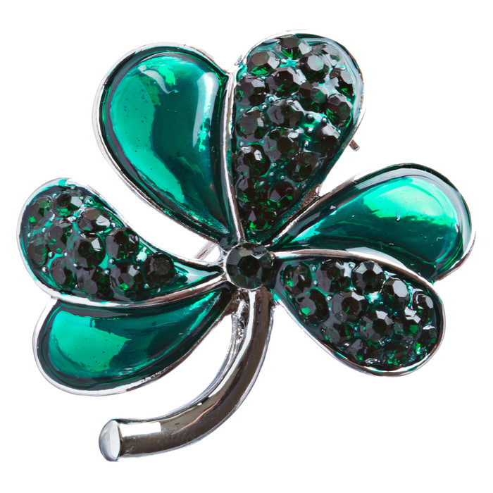 St. Patrick's Day Jewelry Crystal Rhinestone Flashy 3 Leaf Clover Pin B159 Silve