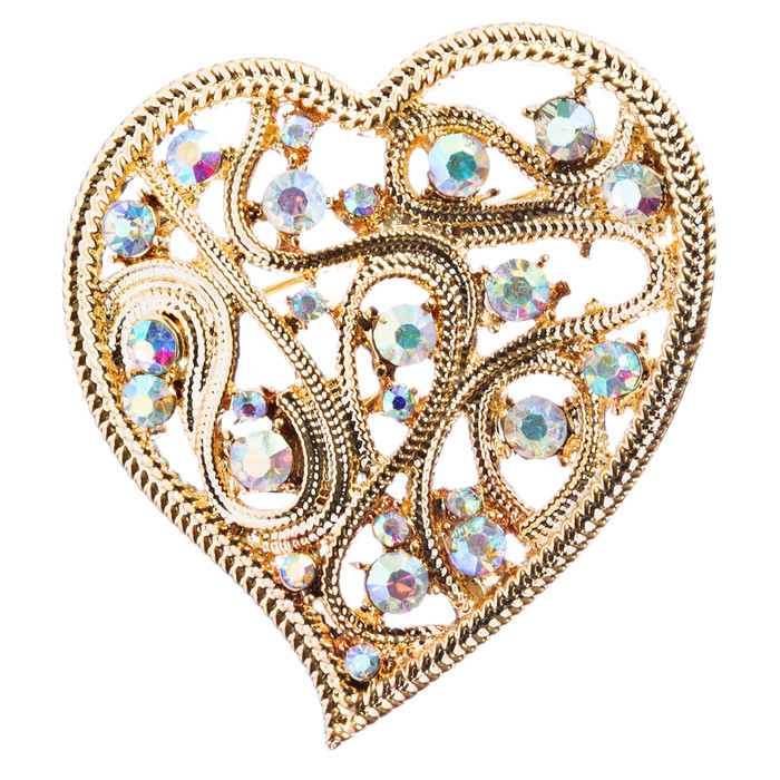 Valentine's Day Jewelry Crystal Rhinestone Elegant Curve Heart Pin B161 Gold