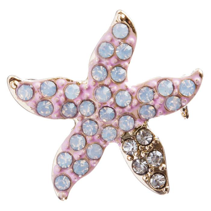 Nautical Jewelry Crystal Rhinestones Delightful Starfish Brooch Pin B162 Pink