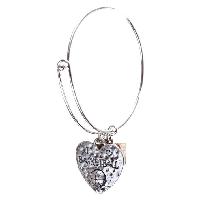Sports Theme Fashion Crystal Rhinestone Adorable Heart Bracelet B494 Basketball
