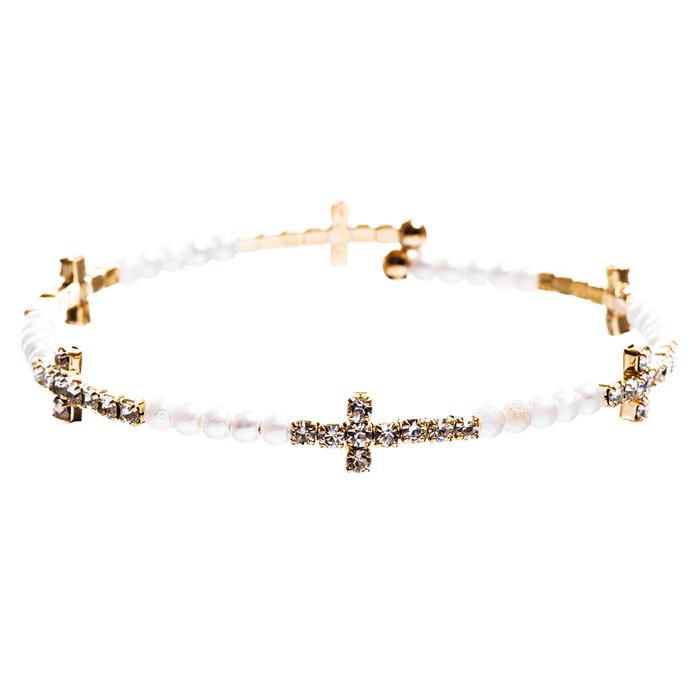 Cross Jewelry Crystal Rhinestone Stylish Sideways Cross Bracelet B495 White
