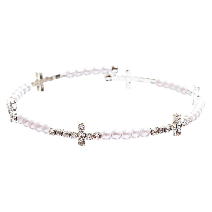 Cross Jewelry Crystal Rhinestone Stylish Sideways Cross Bracelet B495 Silver