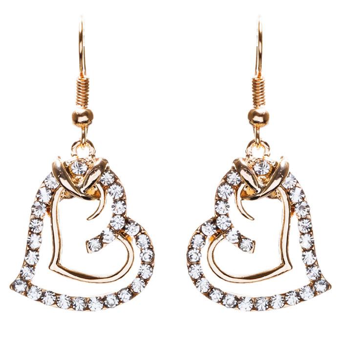 Charming Valentine Theme Fashion Crystal Rhinestone Heart Earrings E906 Gold
