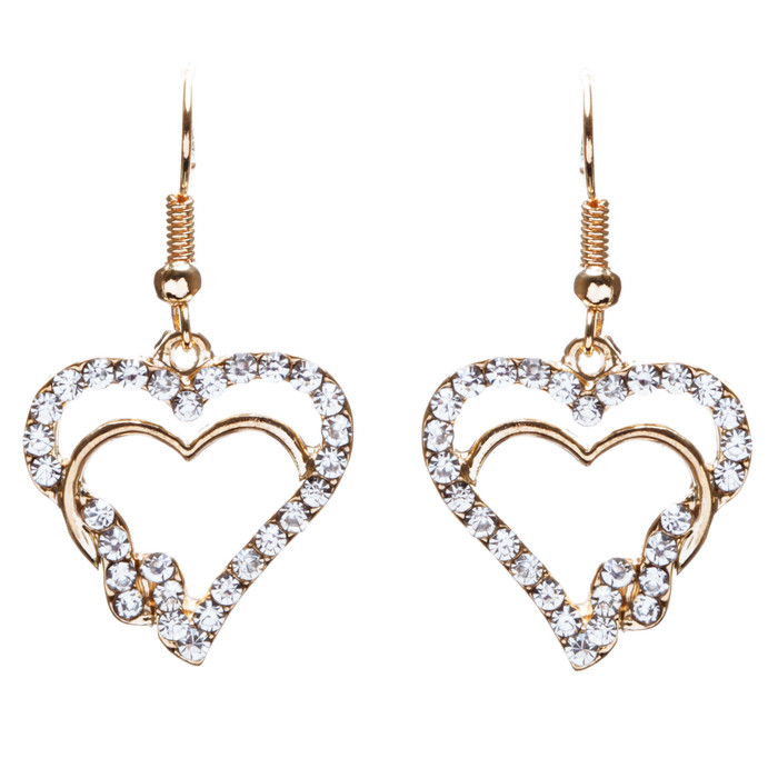 Valentines Jewelry Beautiful Crystal Rhinestone Hearts Earrings E907 Gold