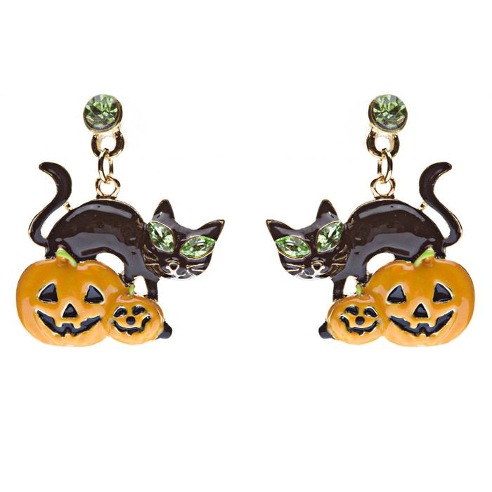 Halloween Jewelry Pumpkin Black Cat Crystal Earrings