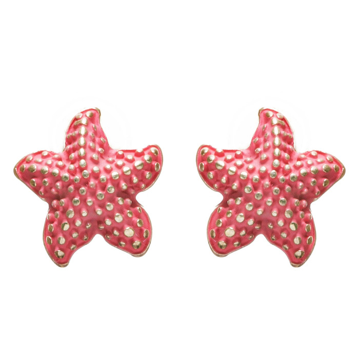 Nautical Jewelry Adorably Cute & Tiny Starfish Stud Earrings E932 Coral