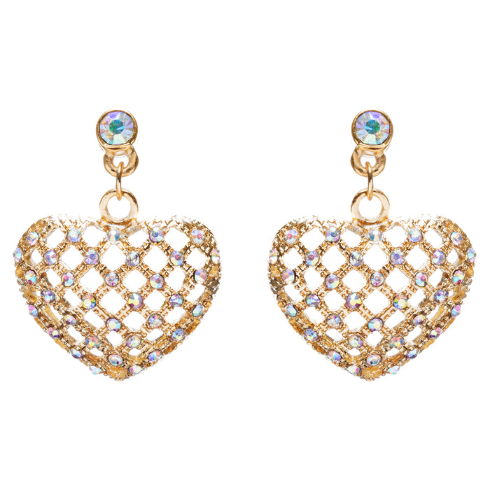 Valentine's Day Jewelry Crystal Rhinestone Charming Heart Dangle Earrings E933GD