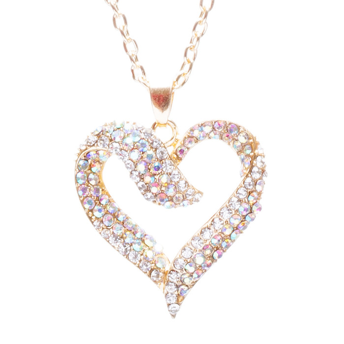 Valentines Jewelry Crystal Rhinestone Beautiful Heart Pendant Necklace N90 Gold