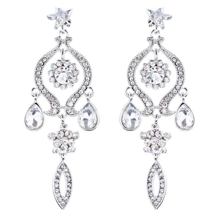 Bridal Wedding Jewelry Crystal Rhinestone Classic Dangle Earrings E1020 Silver