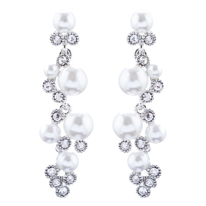 Bridal Wedding Jewelry Crystal Rhinestone Pearl Elegant Dangle Earrings E1025 SV