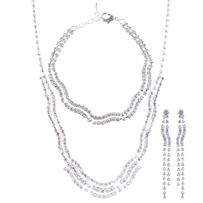 Bridal Wedding Jewelry Crystal Rhinestone Necklace Earrings Bracelet Set J716 SV