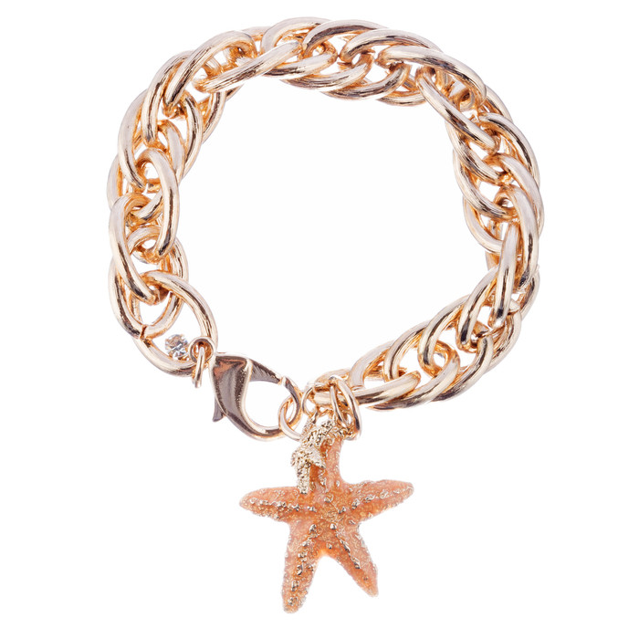 Ocean Starfish Dangling Charm Crystal Link Fashion Bracelet B517 Gold Orange