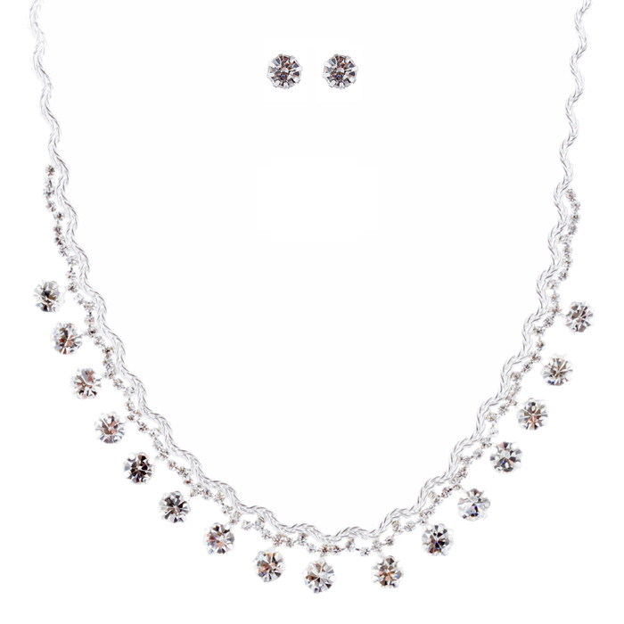 Bridal Wedding Jewelry Crystal Rhinestone Prom Necklace Earrings Set J712 Silver