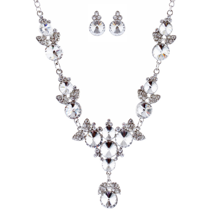 Bridal Wedding Jewelry Crystal Rhinestone Prom Necklace Earrings Set J724 Silver
