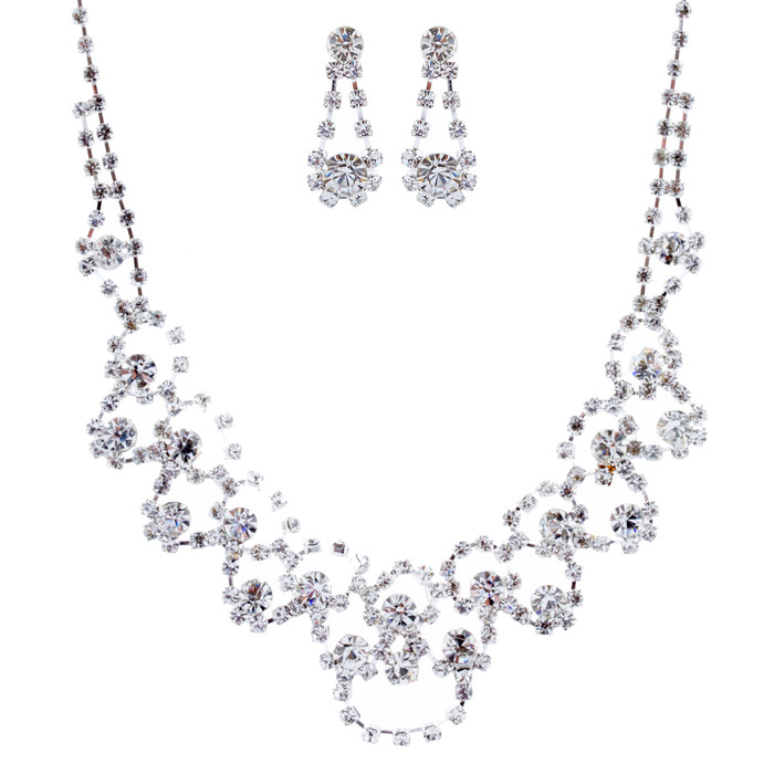 Bridal Wedding Jewelry Crystal Rhinestone Prom Necklace Earrings Set J728 Silver