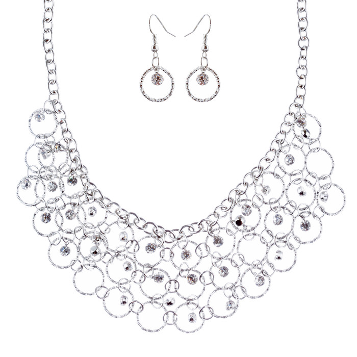 Beautiful Crystal Rhinestone Bridal Wedding Necklace Earrings Set JN277 Silver