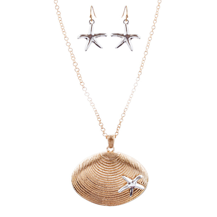 Fun Ocean Inspired Sea Star Shell Pendant Necklace Earrings Set JN280 Gold