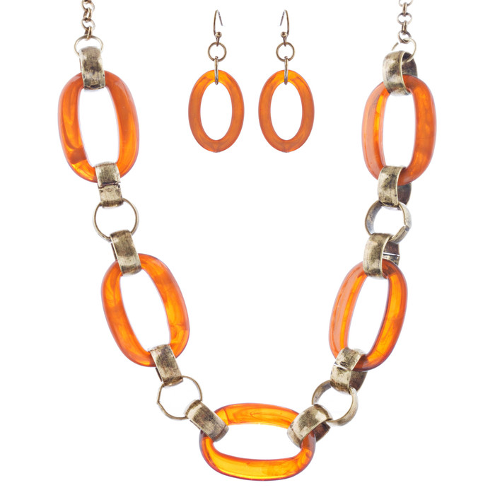 Fashion Links Pattern Design Statement Necklace Earrings Set JN283 Brown