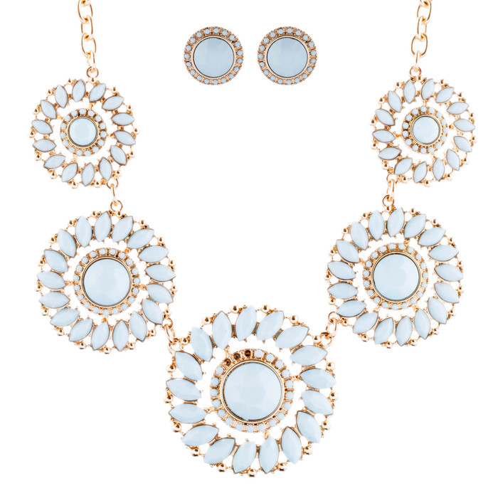 Glamorous Sparkle Bold Fashion Statement Necklace Earrings Set JN290 Gold Mint
