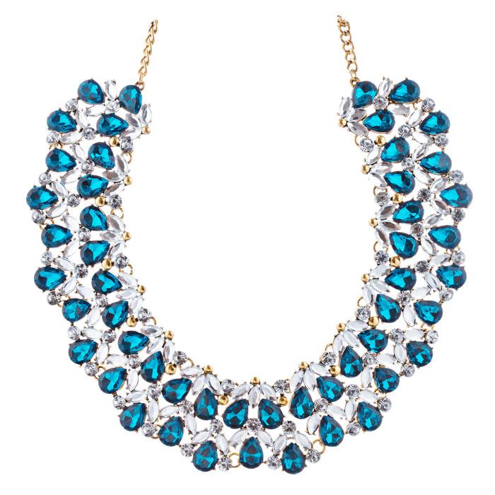 Stunning Bib Style Crystal Rhinestone Sparkle Statement Necklace N104 Blue