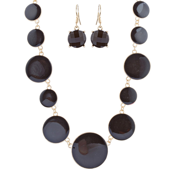 Beautiful Simple Design Bold Statement Necklace Earrings Set N105 Gold Black