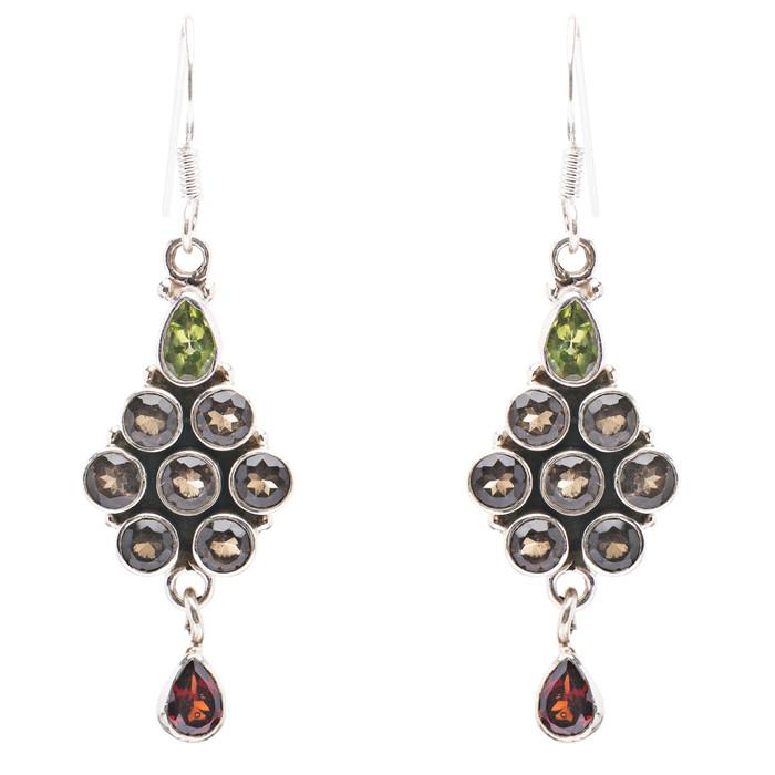 925 Sterling Silver Gemstones Natural Garnet Topaz Dangle Earrings FJSE2165