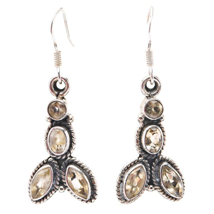 925 Sterling Silver Gemstones Natural Citrine Dangle Earrings FJSE2175