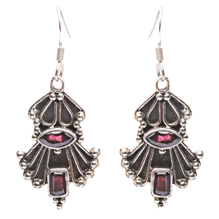 925 Sterling Silver Gemstones Natural Red Garnet Dangle Earrings FJSE2181