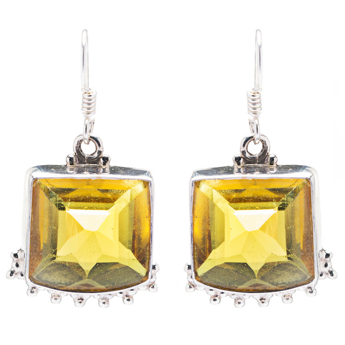 925 Sterling Silver Natural Gemstones Topaz Dangle Earrings FJSVE2105
