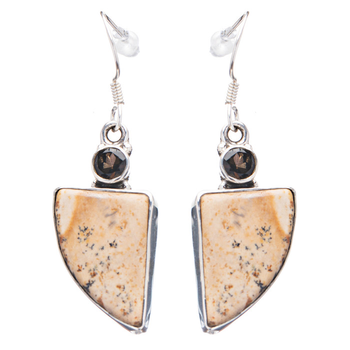 925 Sterling Silver Natural Gemstones Jasper Dangle Earrings FJSVE2124