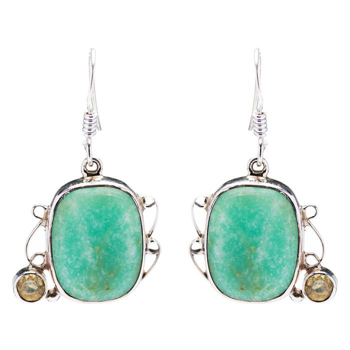 925 Sterling Silver Natural Gemstones Jade Dangle Earrings FJSVE2143