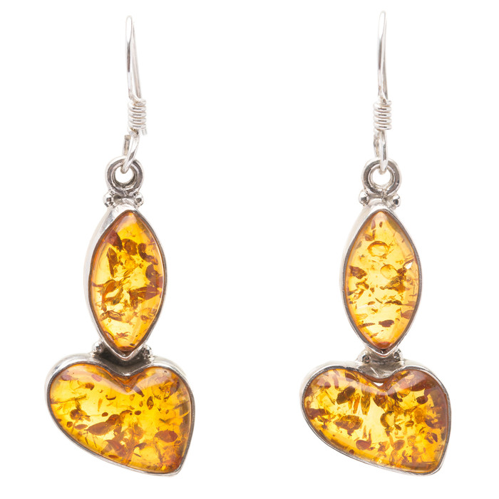 925 Sterling Silver Natural Gemstones Amber Dangle Earrings FJSVE2148