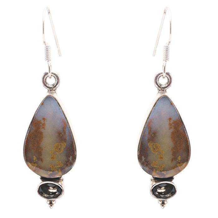 925 Sterling Silver Natural Gemstones Jasper Dangle Earrings FJSVE2155