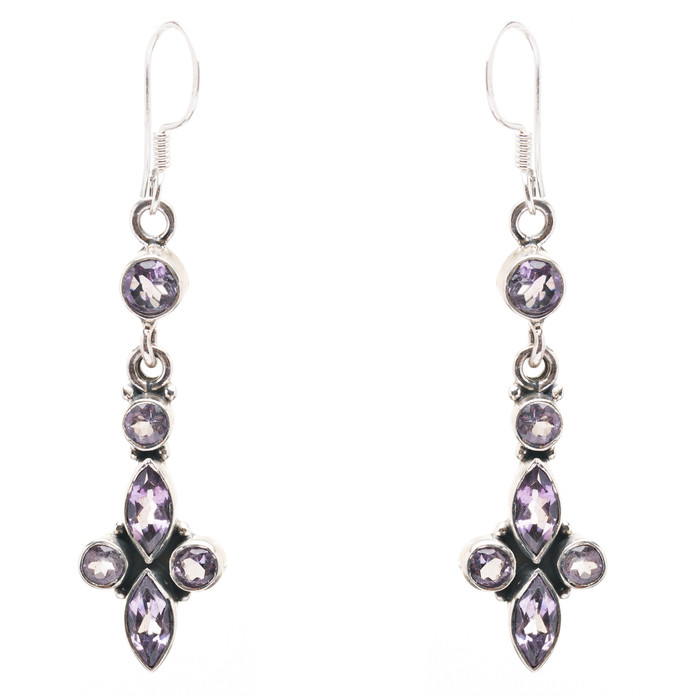 925 Sterling Silver Natural Gemstones Amethyst Dangle Earrings FJSVE2158