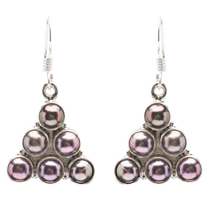925 Sterling Silver Natural Gemstones Abalone Dangle Earrings FJSVE2166