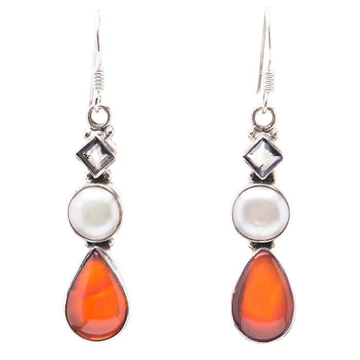 925 Sterling Silver Natural Gemstones Carnelian Abalone Dangle Earring FJSVE2185