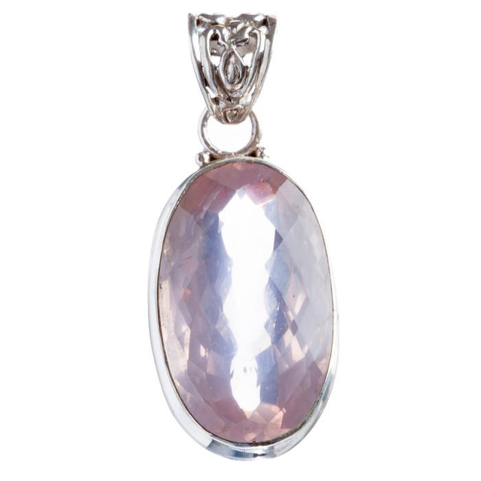 925 Sterling Silver Natural Gemstones Pink Amethyst Pendant FJSVP2075