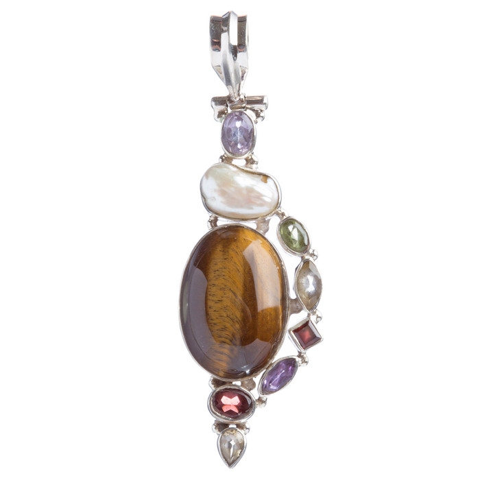 925 Sterling Silver Natural Gemstones Tigers Eye Pearl Pendant FJSVP2083