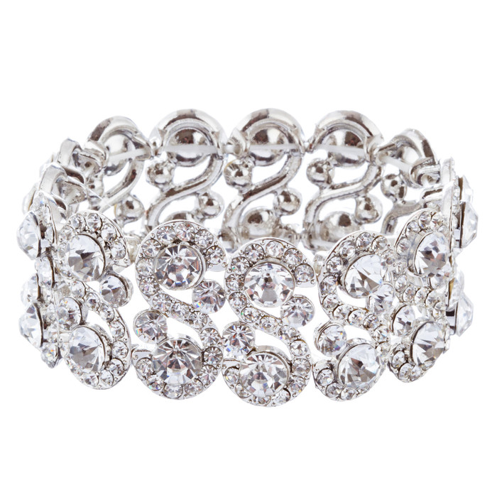 Bridal Wedding Jewelry Crystal Rhinestone Dazzling Stretch Bracelet B528 Silver