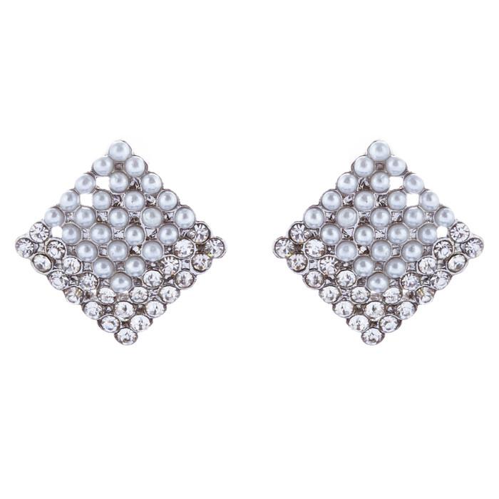 Beautiful Diamond Shape Stud Style Crystal Rhinestone Fashion Earrings E1129 SV