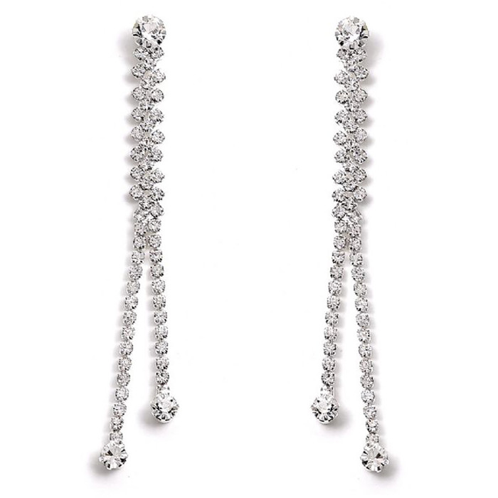 Bridal Wedding Jewelry Prom Crystal Rhinestone Simple Linear Drop Earrings E1149