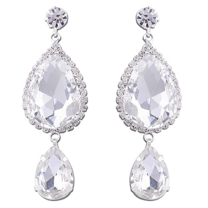 Bridal Wedding Jewelry Prom Crystal Fashion Gorgeous Dangle Earrings E1150 SV