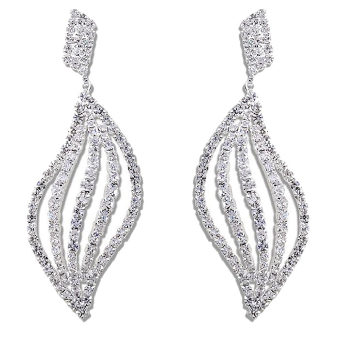 Bridal Wedding Jewelry Prom Crystal Rhinestone Striking Dangle Earrings E1151 SV